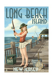 Long Beach Island  New Jersey - Fishing Pinup Girl