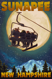 Sunapee  New Hampshire - Ski Lift and Full Moon