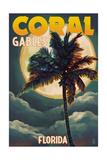 Coral Gables  Florida - Palms and Moon