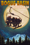 Bogus Basin  Idaho - Ski Lift and Full Moon with Snowboarder