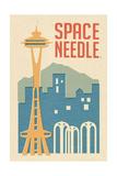 Seattle  Washington - Space Needle Woodblock