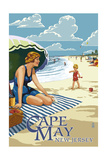 Cape May  New Jersey - Woman on Beach