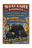 Mount Baker  Washington - Black Bears Vintage Sign
