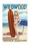 Wildwood  New Jersey - Surfing Pinup Girl