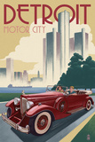 Detroit, Michigan - Vintage Car and Skyline Reproduction d'art par Lantern Press