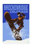 Breckenridge  Colorado - Colorblocked Snowboarder
