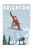Brighton Resort  Utah - Snowboarder Jumping