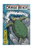 Orange Beach  Alabama - Sea Turtles Woodblock Print