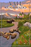 Vail  Colorado - Moose and Meadow Scene