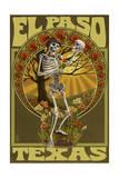 El Paso  Texas - Day of the Dead - Skeleton Holding Sugar Skull