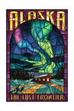 Alaska - Cabin and Northern Lights Stained Glass