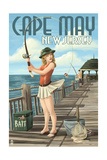 Cape May  New Jersey - Fishing Pinup Girl