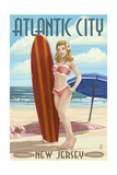 Atlantic City  New Jersey - Surfer Pinup Girl