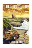 Half Moon Bay  California - Woody and Lighthouse