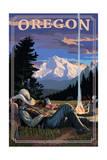 Oregon - Cowboy Camping Night Scene