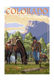 Colorado - Cowboy and Horse in Spring
