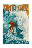 Santa Cruz  California - Stylized Surfer
