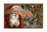 Christmas Greetings from Colorado - Santa with Holly  Village Scene