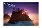 Oregon Coast - Ocean Island Sunset