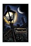 Bourbon Street - New Orleans  Louisiana - Scratchboard