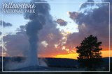 Yellowstone National Park - Old Faithful at Sunset