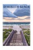 Rehoboth Beach  Delaware - Beach Boardwalk Scene