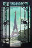 Paris  France - Eiffel Tower and Gate Lithograph Style