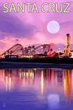 Santa Cruz  California - Rides and Moon at Twilight