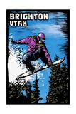 Brighton  Utah - Snowboarder - Scratchboard
