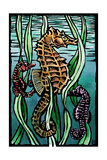 Seahorses - Scratchboard