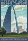 St Louis  Missouri - Gateway Arch Lithography Style