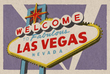 Las Vegas  Nevada - Welcome Sign Woodblock