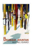 Brundage Mountain - McCall  Idaho - Colorful Skis Lantern Press Poster