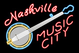 Nashville  Tennesse - Neon Banjo Sign