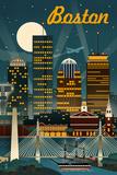 Boston  Massachusetts - Retro Skyline