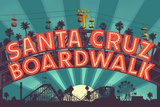 Santa Cruz  California - Beach Boardwalk Sign at Night