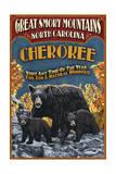 Cherokee  North Carolina - Black Bear Vintage Sign