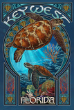 Key West  Florida - Sea Turtle Art Nouveau