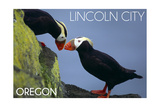 Lincoln City  Oregon - Tufted Puffins - Lantern Press