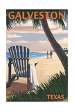 Galveston  Texas - Adirondack Chairs and Sunset