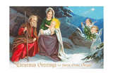 Christmas Greetings from Forest Grove  Oregon - Nativity Scene in Snow with Angels