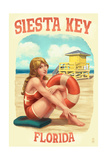 Siesta Key  Florida - Lifeguard Pinup with Life Preserver