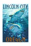 Lincoln City  Oregon - Stylized Tiger Sharks