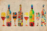 Wine Bottle and Glass Group Geometric Reproduction d'art par Lantern Press