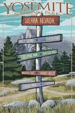 Yosemite National Park  California - Signpost