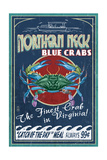 Northern Neck  Virginia - Blue Crab Vintage Sign