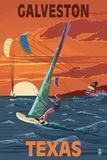 Galveston  Texas - Windsurfers and Sunset