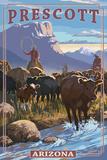 Prescott  Arizona - Cowboy Cattle Drive Scene