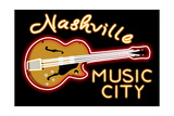 Nashville  Tennesse - Neon Guitar Sign