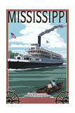 Mississippi - Riverboat and Rowboat